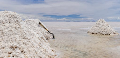 Lithium extraction mines on the South American salt flats.
